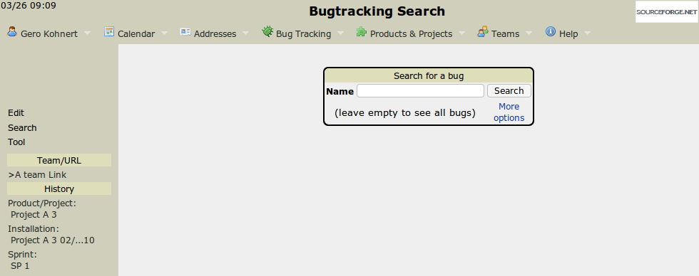 The bugreport search screen