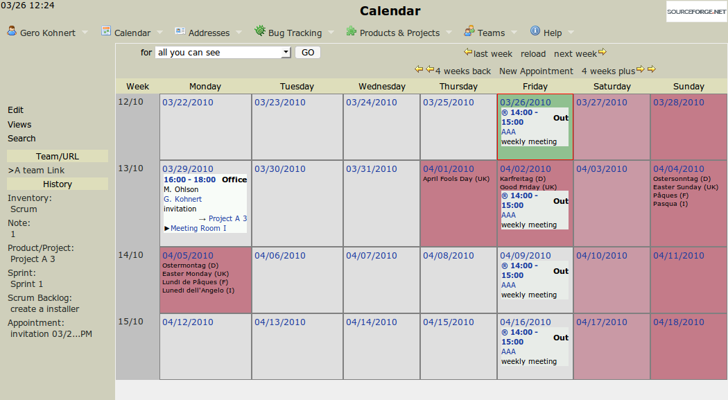 Main calendar screen with the repeated appointment
