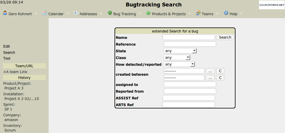 The bugreport extended search screen