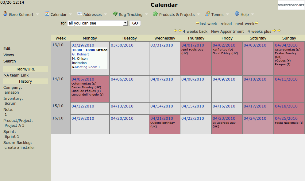 Main calendar screen with our new appointment