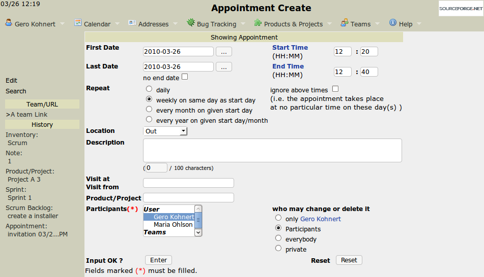 Main repetitive appointment screen
