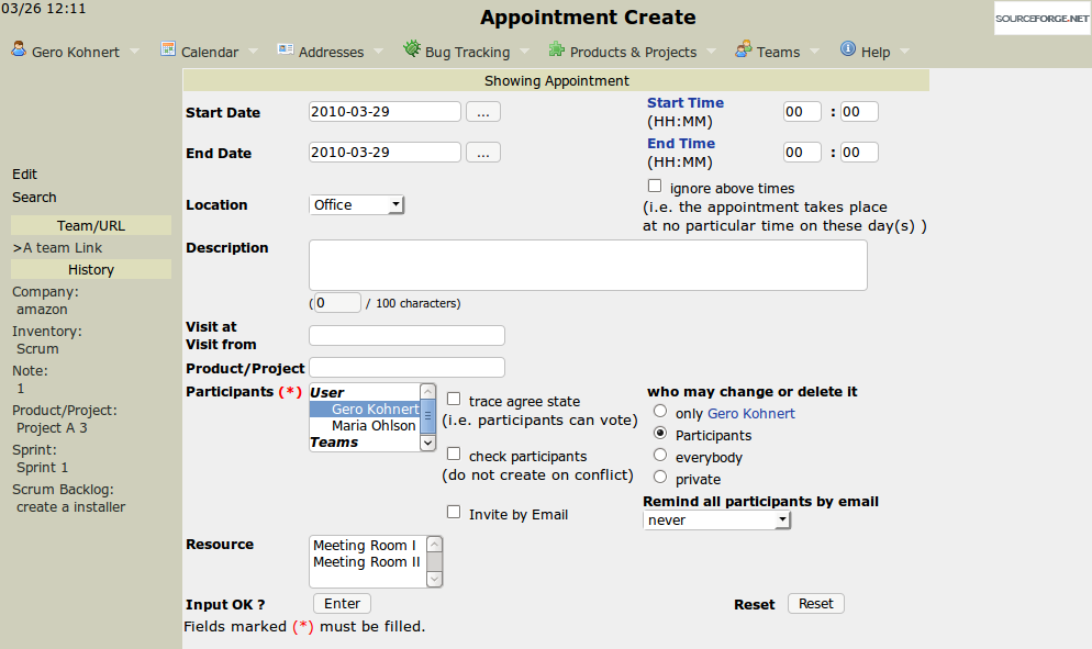 Main appointment screen