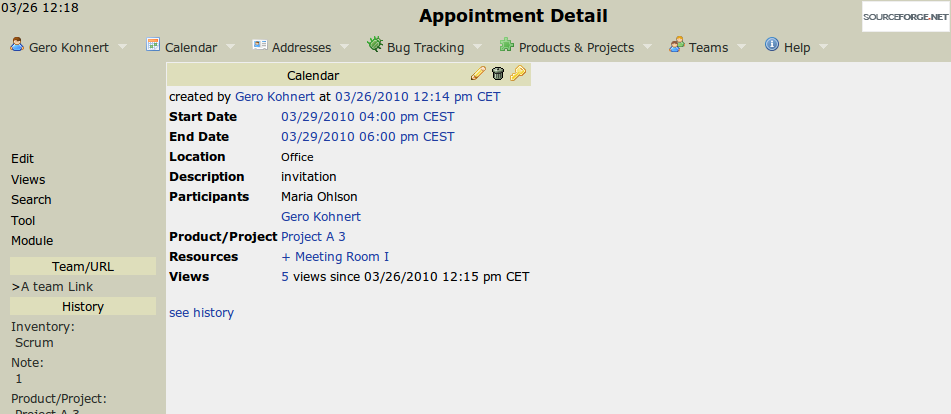 Appointment detail screen