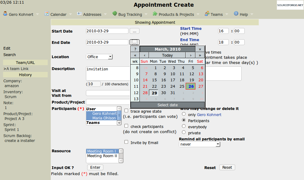 Filled-in appointment screen.